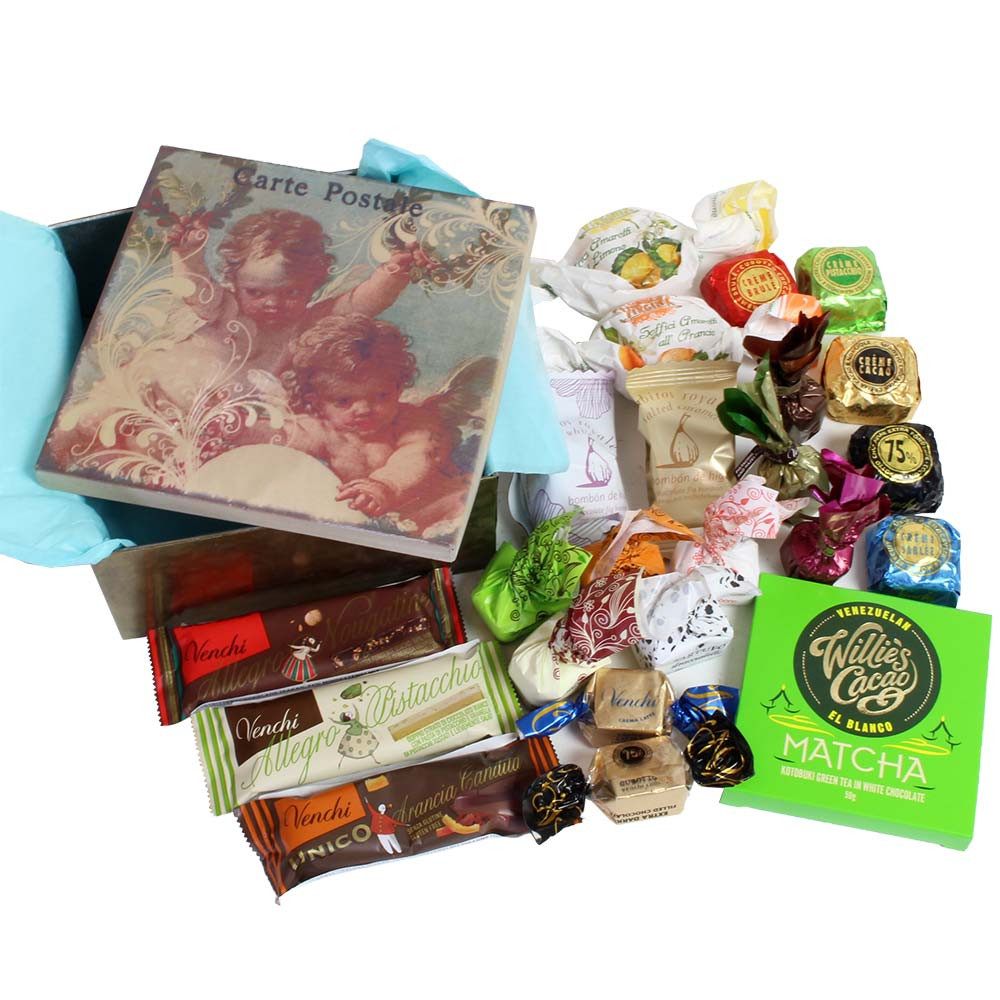 Guardian angel gift box with chocolate and sweet finger food -  - Chocolats-De-Luxe