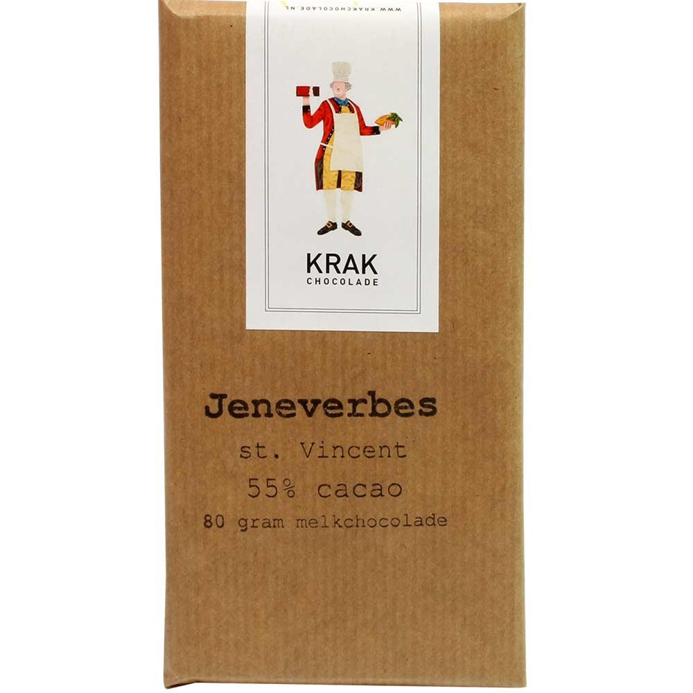 Jeneverbes St Vincent 55% Milchschokolade mit Wacholderbeeren - Bar of Chocolate, gluten free chocolate, nut free chocolate, soy free chocolate, Netherlands, dutch chocolate - Chocolats-De-Luxe