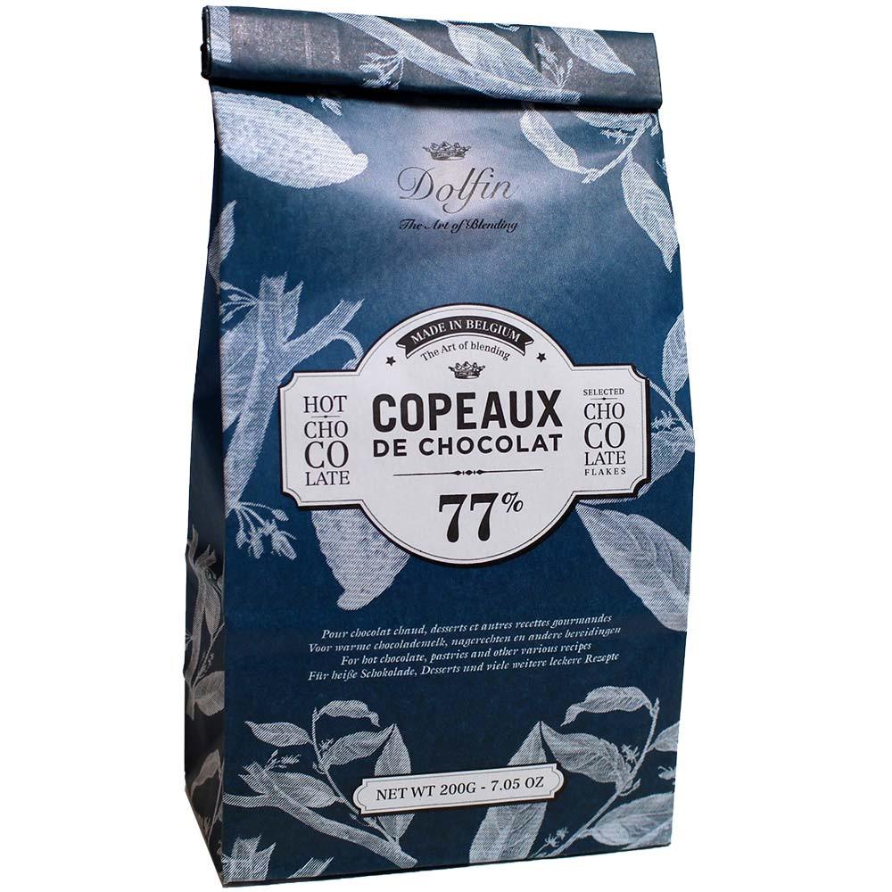 Les Copeaux drinking chocolate in a bag 77% dark chocolate