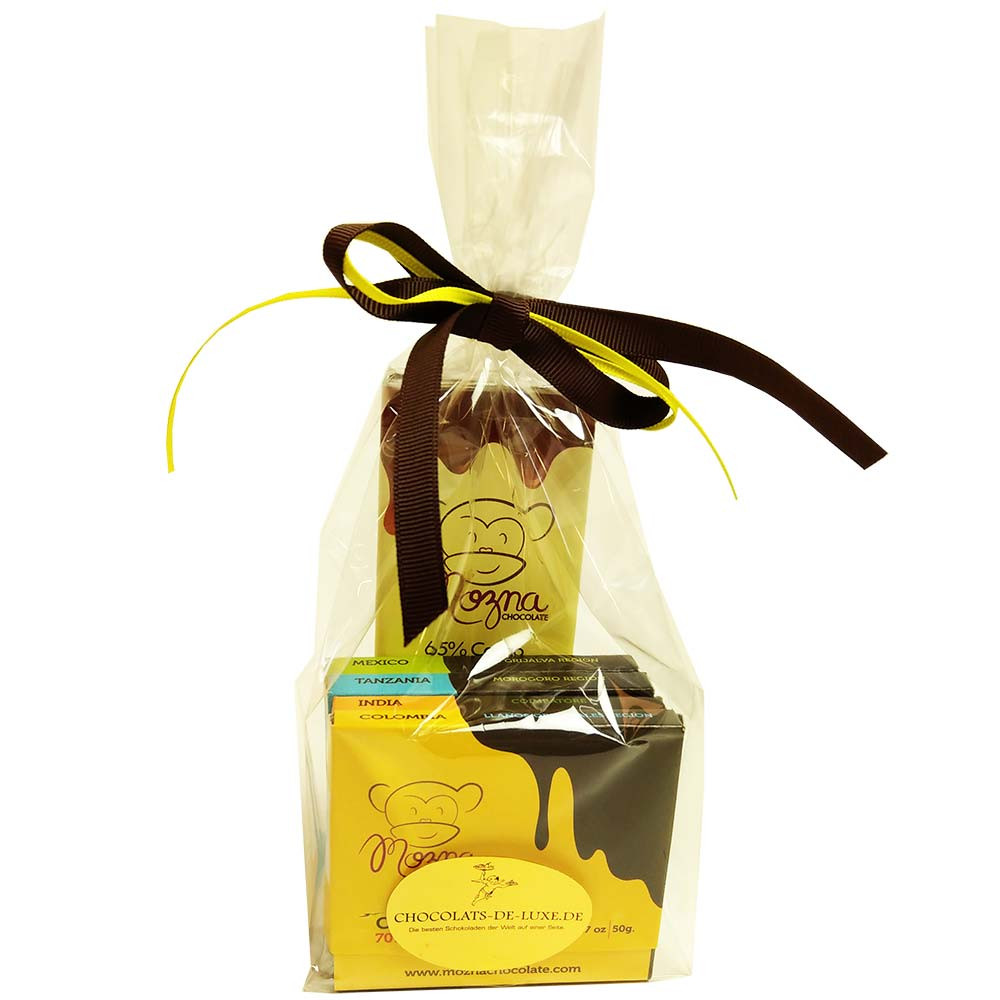 The monkey is on the loose - gift set - chocolate from Texas - Bar of Chocolate - Chocolats-De-Luxe