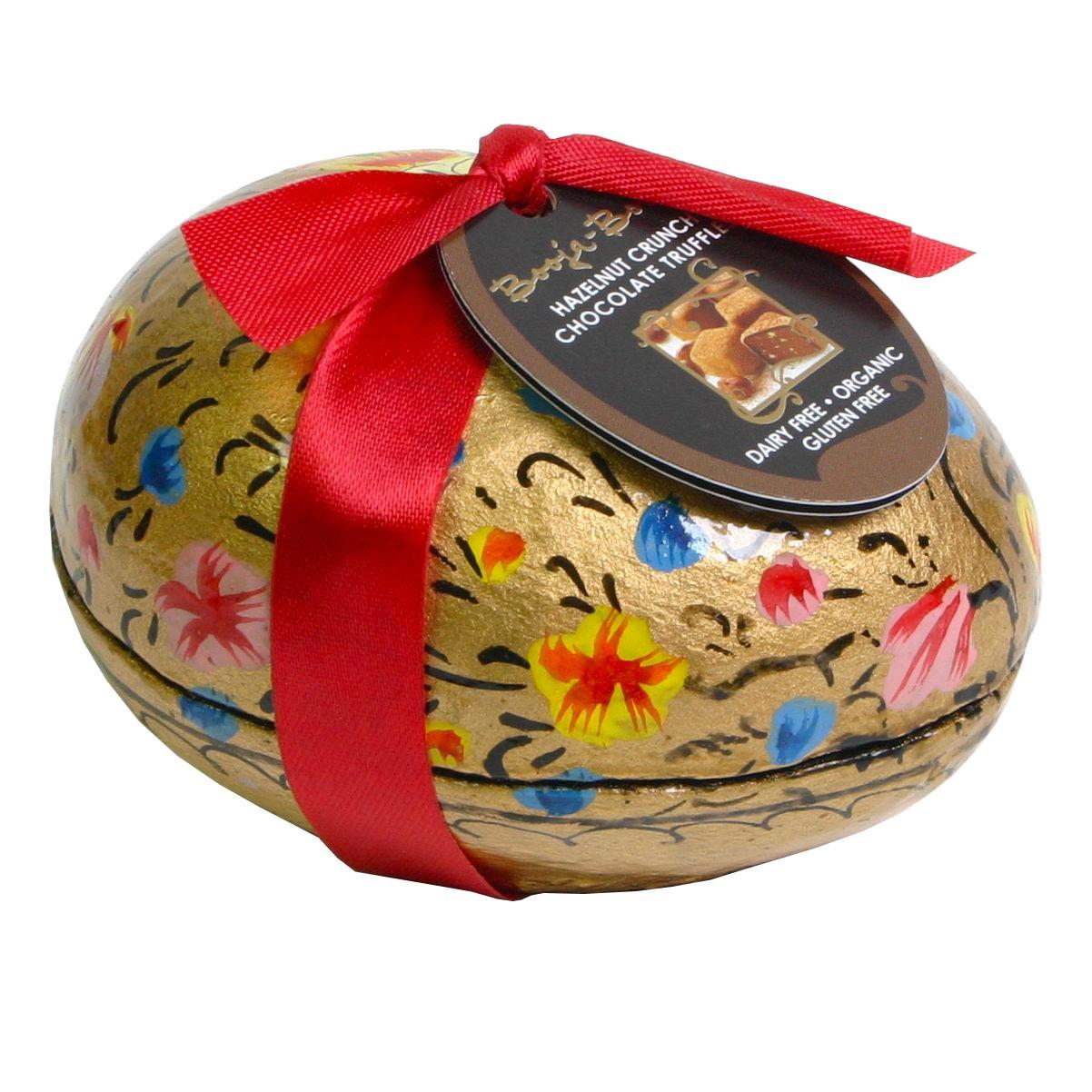 Huevo de Pascua pintado a mano con repostería de avellana BIO , Chocolat Orgánico , Caja de regalo , - Chocolats-De-Luxe