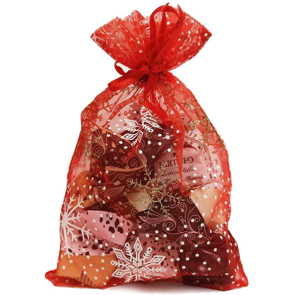 Borsetta natalizia stelle riempita con 4 tipi di Tartufi -  - Chocolats-De-Luxe