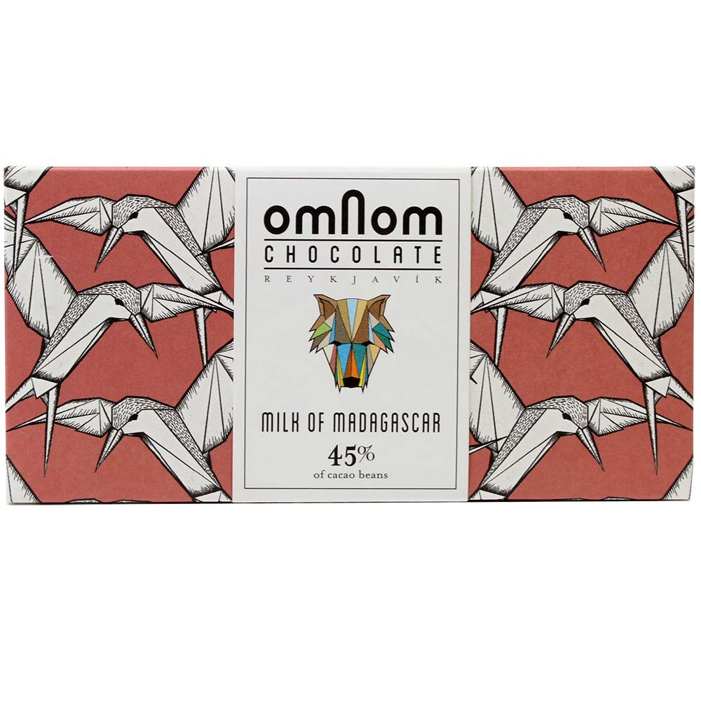 OmNom, OmNom Chocolate, 45% vollmilchschokolade, Milk of Madagascar, OmNom Chocolate, Island, bean-to-bar Schokolade, , Barras de chocolate , chocolate con leche , Madagascar , Chocolate de África , 45 % , Cacao en grano Trinitario , Chocolate Bean-To-Bar, Chocolate Single Origin, Chocolate origen único , Islandia, chocolate islandés , chocolate con leche , marrón, Rojo , Calidad orgánica (no certificada), Comercio directo, Chocolate Comercio justo , Bean-To-Bar Oro - Intern. Chocolate Awards, Oro del Mundo - Intern. Chocolate Awards, Plata del Mundo - Intern. Chocolate Awards , Banderola, Etiqueta adhesiva , Orquídea , bayas rojas, Cítricos , leche , Cacao, Caramelo , - Chocolats-De-Luxe