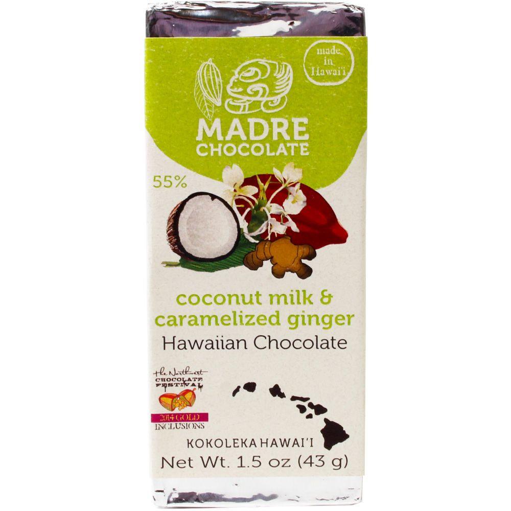 Madre Chocolate 55% Coconut Milk and Caramlized Ginger - Bar of Chocolate, laktose free chocolate, lecithin free chocolate, soy free chocolate, vegan-friendly, Hawaii, Hawaiian chocolate, Chocolate with coconut/-milk - Chocolats-De-Luxe