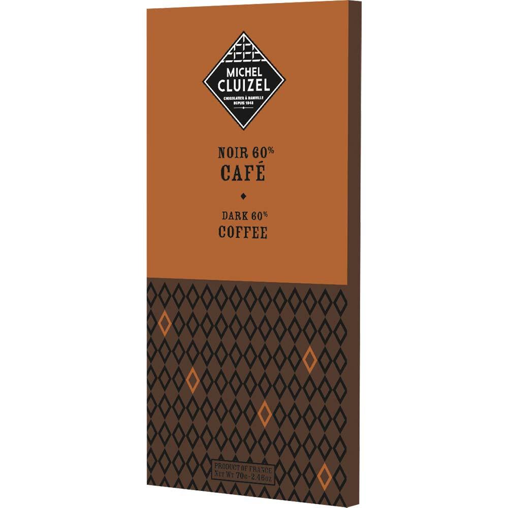 60% dark coffee - Bar of Chocolate, laktose free chocolate, soy free chocolate, vegan-friendly, France, french chocolate, Chocolate with coffee - Chocolats-De-Luxe