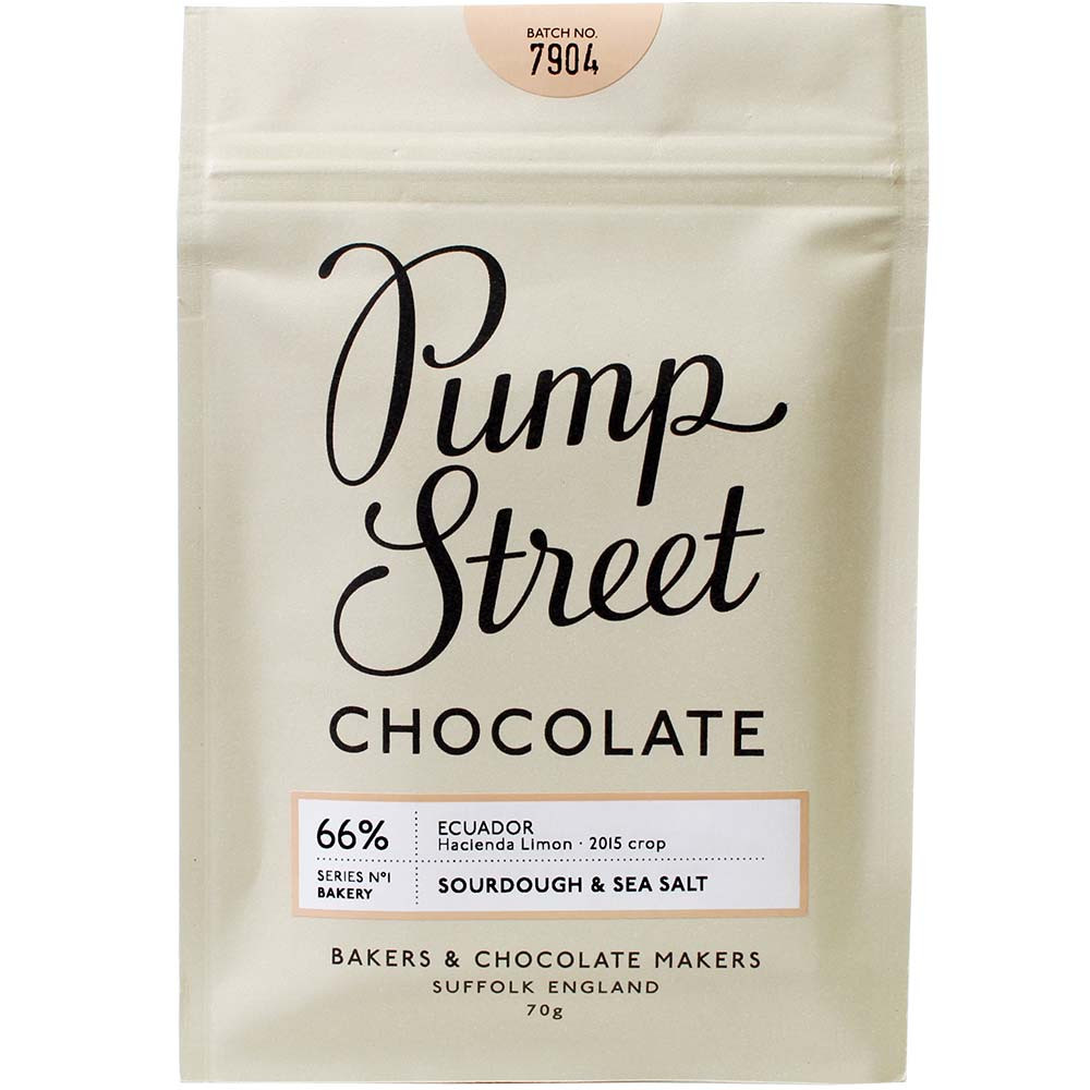 Pump Street Chocolate, Pump Street Bakery, Schokolade mit Sauerteig, Schokolade mit Teig, Sauerteig, Teig, Crunch, Schokolade mit Crunch, malzig, 66%, Ecuador,  Hacienda Limon, Heriloom, Heriloom Kakao, Ursprungsschokolade, dunkle Schokolade mit Semmel,   - Tablette de chocolat, Chocolat sans alcool, chocolat sans soja, végan-amicale, Angleterre, chocolat anglais, Chocolat avec sel - Chocolats-De-Luxe