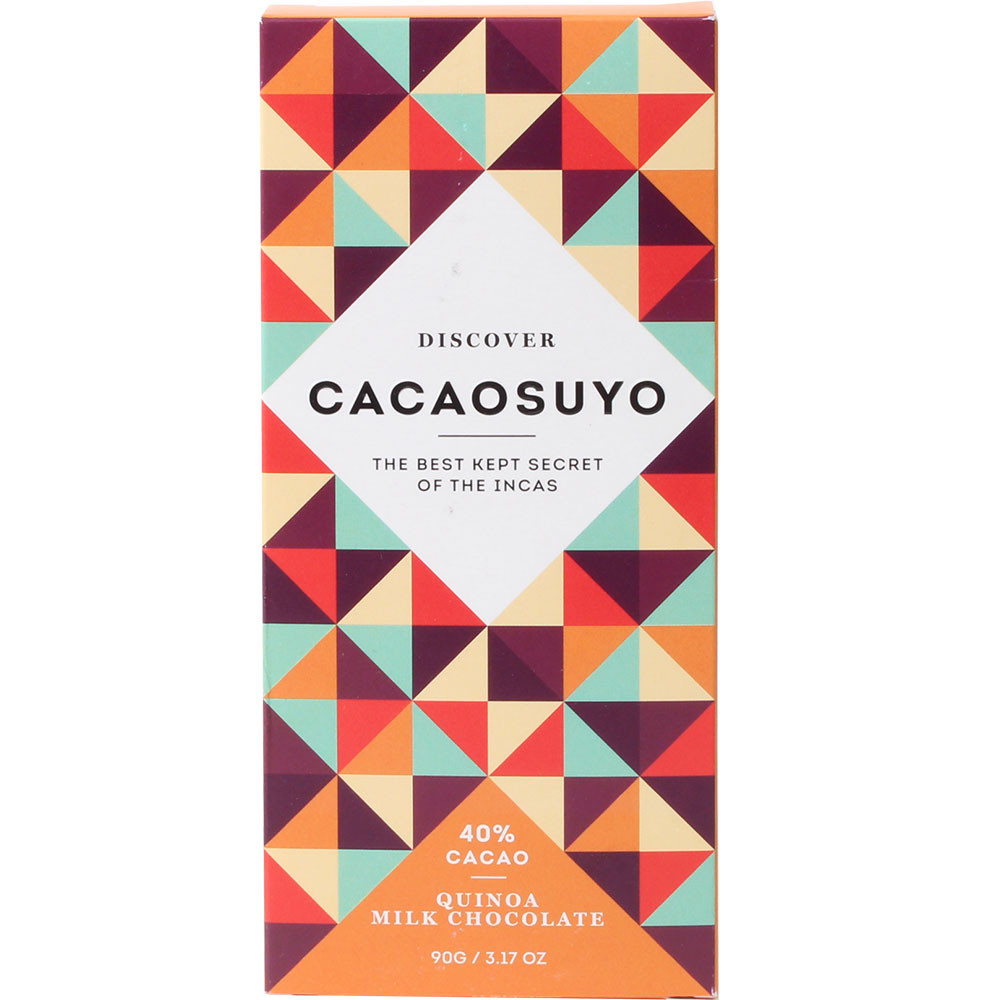 Peru, Cacaosuyo, Piura, Schhokolade, lezithinfrei, Quinoa - Bar of Chocolate, gluten free chocolate, Peru, peruvian chocolate, Chocolate with quinoa, Superfood Quinoa with chocolate - Chocolats-De-Luxe