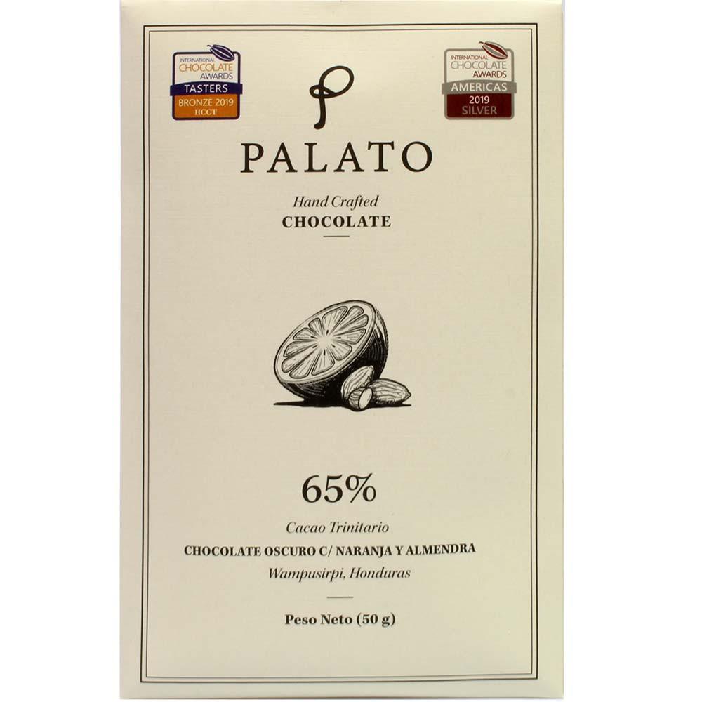 Chocolate Oscuro Naranja y Almendra - 65% chocolate with orange and almonds - Bar of Chocolate, suitable for vegetarians, vegan-friendly, Honduras, Hondurian chocolate, Chocolate with almonds, almond chocolate - Chocolats-De-Luxe