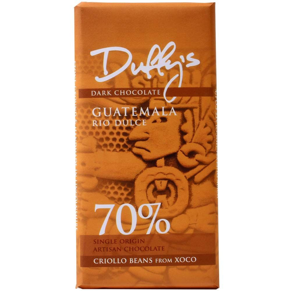 Guatemala Rio Dulce, 70% dunkle Schokolade, Duffy's Chocolate, England Guatemala, Rio Dulce, dunkle Schokolade, England, single origin, bean-to-bar, chocolats-de-luxe.de - Tavola di cioccolato, Cioccolato senza alcol, cioccolato senza glutine, cioccolato senza lattosio, cioccolato senza noci, Cioccolato senza proteine del latte, cioccolato senza soia, vegan-cordiale, Inghilterra, cioccolato inglese, Cioccolato con zucchero - Chocolats-De-Luxe