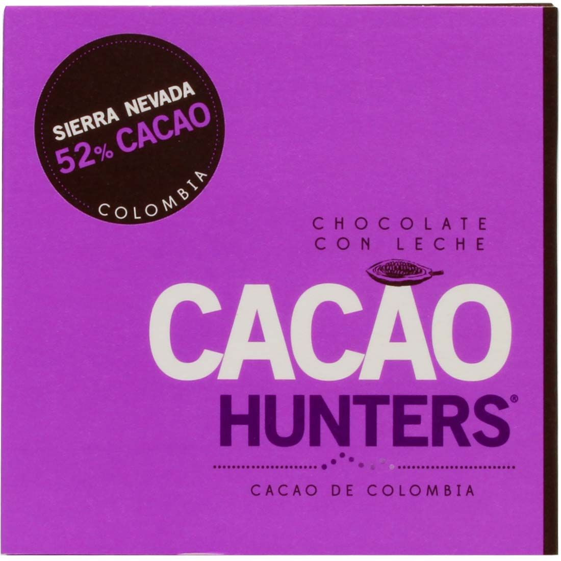 Cacao Hunters Sierra Nevada 52% Cacao Colombia - Bar of Chocolate, Columbia, Colombian chocolate, chocolate with milk, milk chocolate - Chocolats-De-Luxe