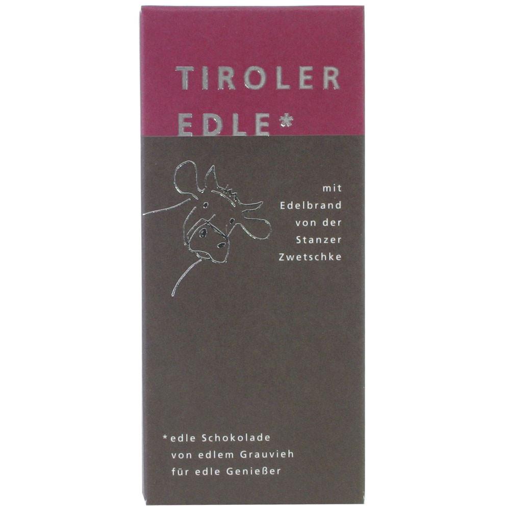 Tiroler Edle Österreich Tiroler Grauvieh Rahm ohne Konservierungsstoffe Stanzer Zwetschke dark chocolate chocolat noir plums                                                                             -  - Chocolats-De-Luxe