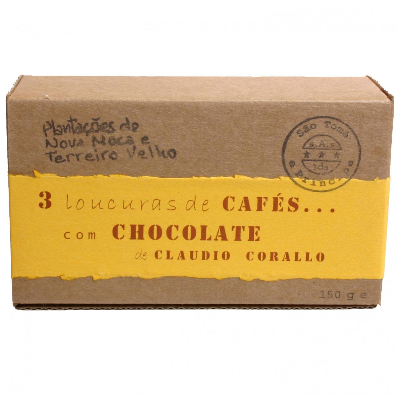Claudio Corallo Sao Tomé Kaffeebohnen in dunkler Schokolade coffeebeans grains de café chocolat noir dark chocolate -  - Chocolats-De-Luxe