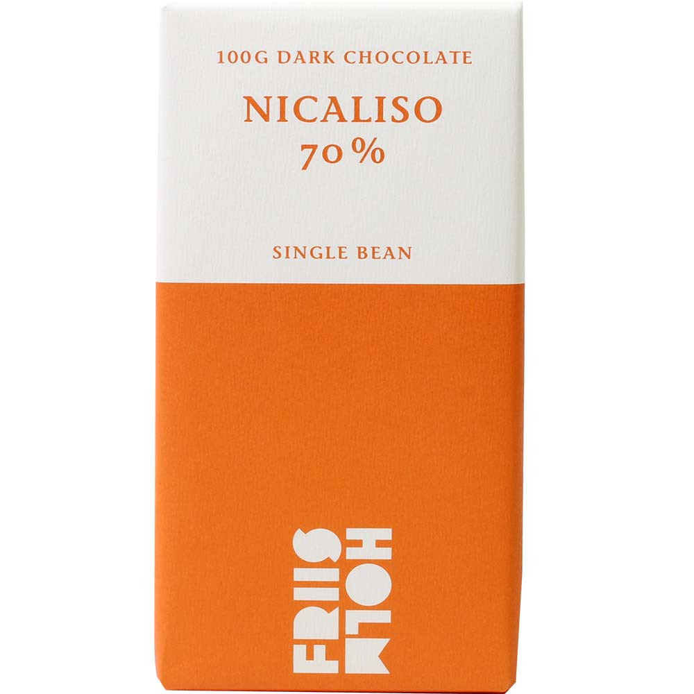 Nicaliso 70% Cacao Pure dark Chocolate - Bar of Chocolate, gluten free chocolate, laktose free chocolate, lecithin free chocolate, soy free chocolate, vegan-friendly, Danmark, danish chocolate, Chocolate with sugar - Chocolats-De-Luxe