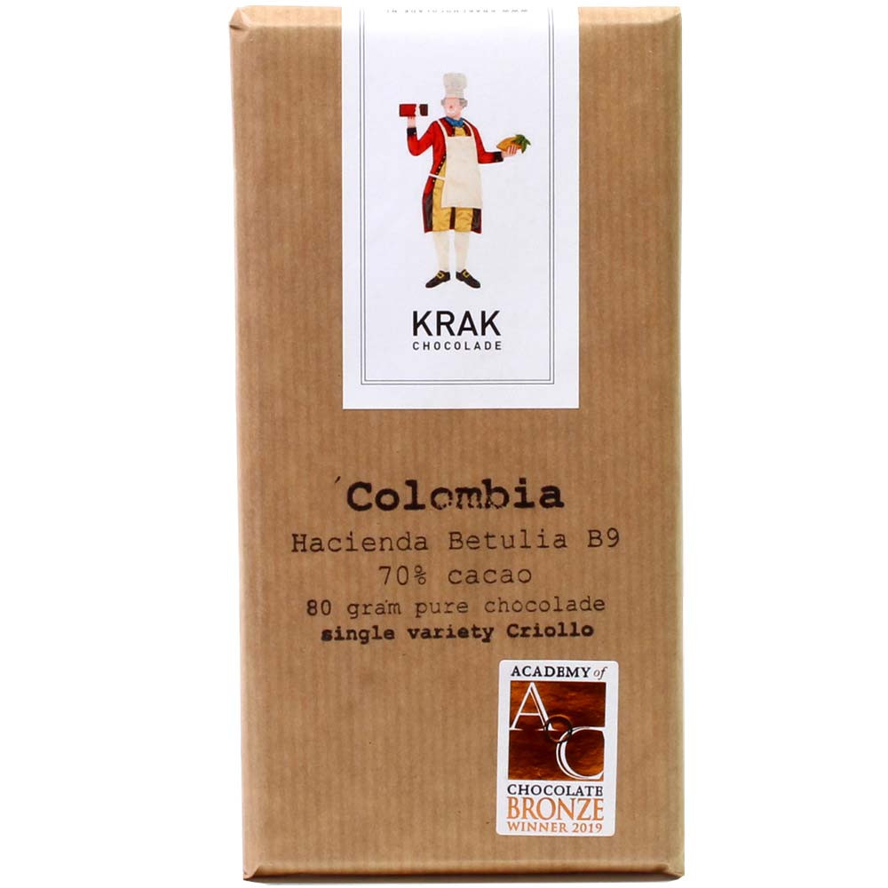 Colombia Hacienda Betulia B9 - 70% chocolate negro - Barras de chocolate, Países Bajos, chocolate holandés, chocolate puro sin ingredientes - Chocolats-De-Luxe