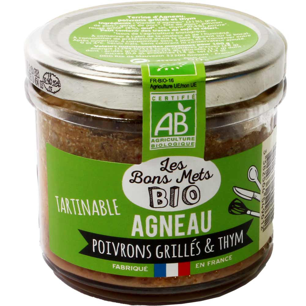 Tartinable Agneau Poivrons Grillés & Thym BIO - Aufstrich mit Lamm, geröstetem Paprika & Thymian -  - Chocolats-De-Luxe