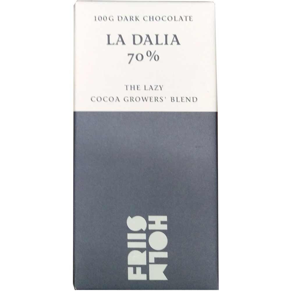 La Dalia 70% The Lazy Cocoa Growers Blend Schokolade - Barras de chocolate, chocolate sin gluten, chocolate sin lactosa, chocolate sin soja, chocolate vegano, Dinamarca, chocolate danés, Chocolate con azúcar - Chocolats-De-Luxe