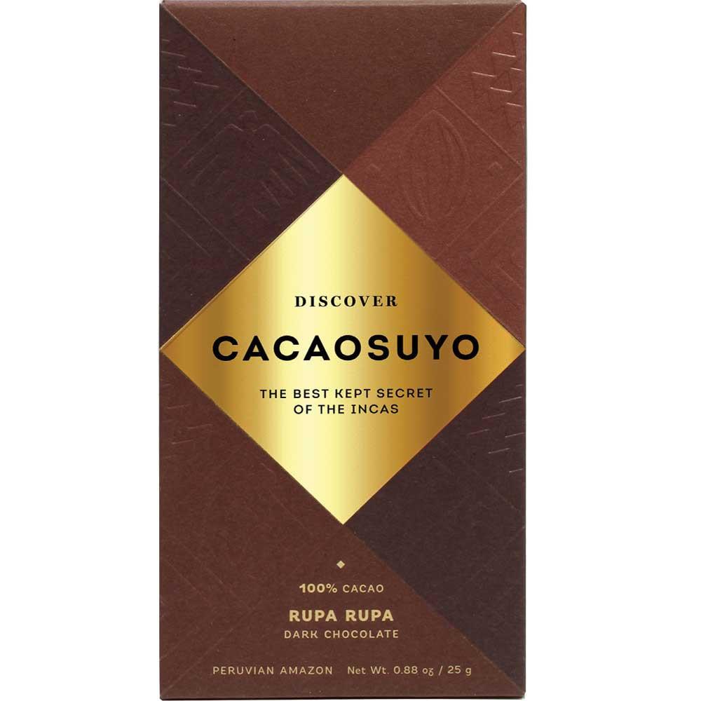 Rupa Rupa 100% chocolate de Perú, 25g - Barras de chocolate, chocolate sin lactosa, vegan-amigable, Perú, chocolate peruano - Chocolats-De-Luxe