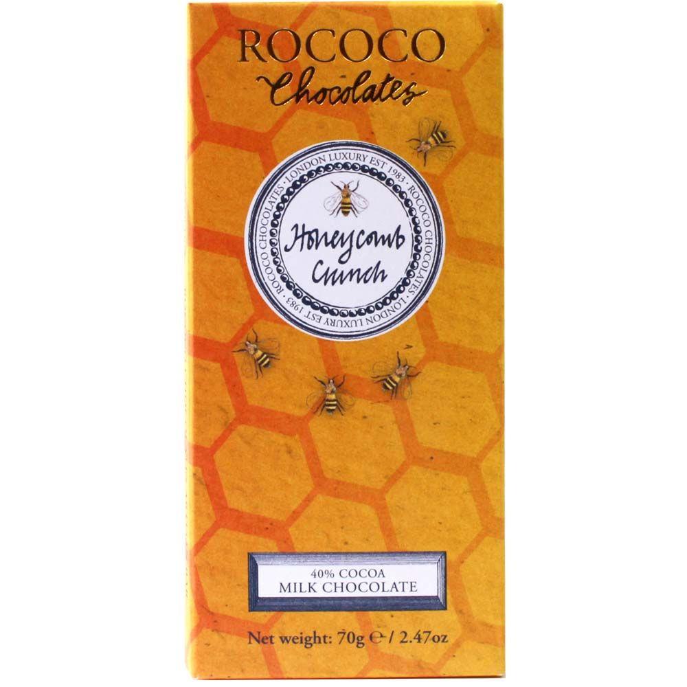Rococo Honeycomb Crunch 40% Milchschokolade - Bar of Chocolate, England, english chocolate, Chocolate with honey - Chocolats-De-Luxe