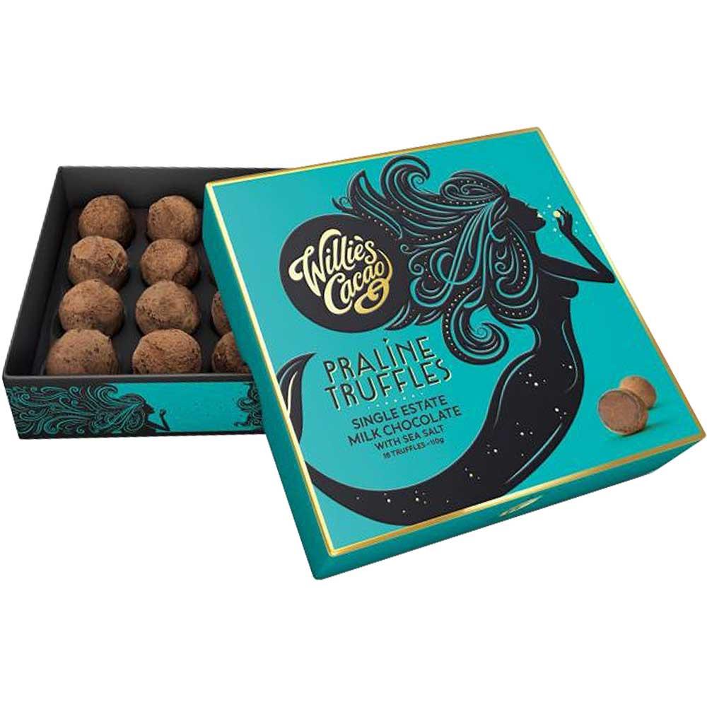 Pralinen Trüffel in Vollmilch Schokolade mit Meersalz - Trüffel, England, englische Schokolade, Schokolade mit Nuss, Nuss-Schokolade - Chocolats-De-Luxe