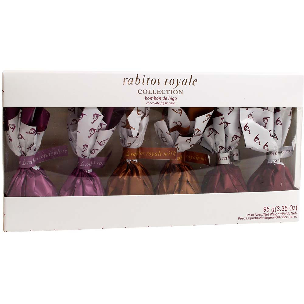 Rabitos Royale Feigen in dreierlei Schokolade Geschenkpackung - Schokoliertes, alkoholfrei, Spanien, spanische Schokolade, Schokolade mit Feige - Chocolats-De-Luxe