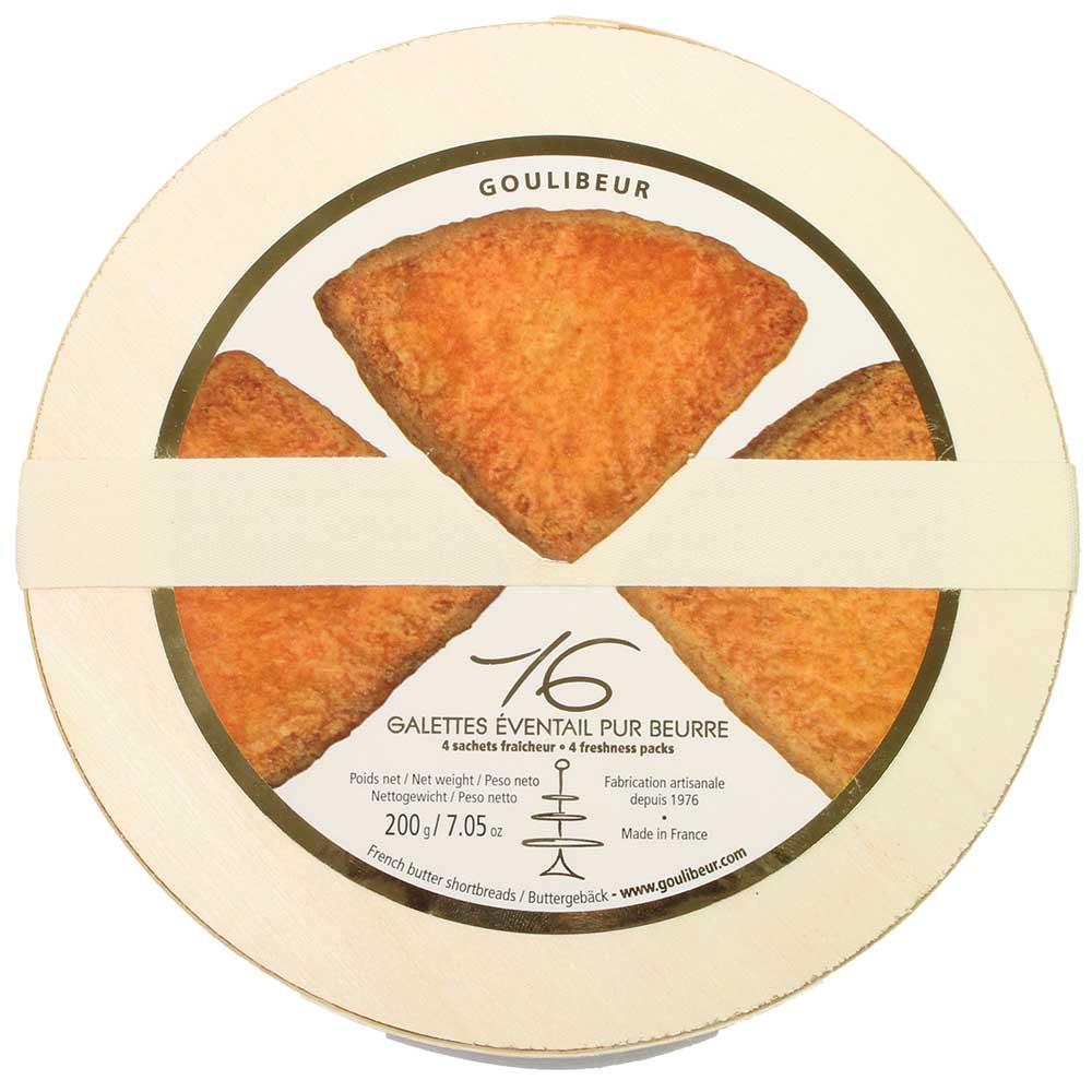 16 Galette Éventails pur Beurre - Butterkekse in der Holzschachtel - France, chocolat français - Chocolats-De-Luxe