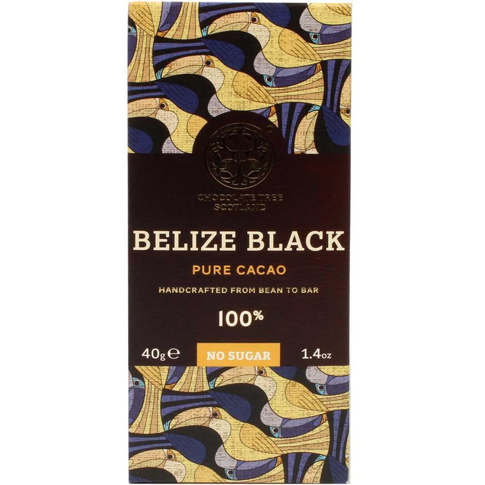 Belize Black Pure Cacao 100% - Bar of Chocolate, sugar free chocolate, vegan chocolate, Scotland, Scottish chocolate, plain pure chocolate without ingredients - Chocolats-De-Luxe