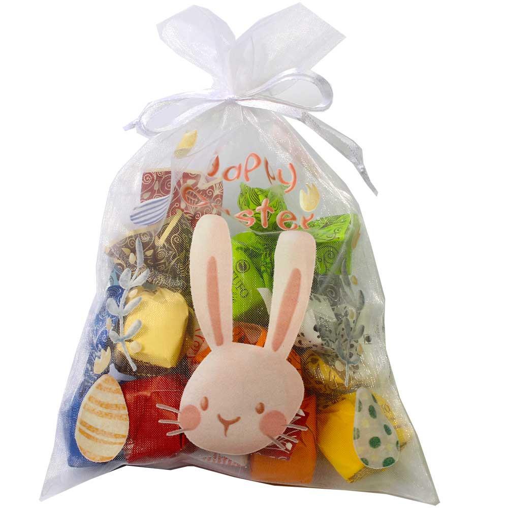 Organzabeutel Happy Easter mit 12 Tartufi gefüllt - sin gluten - Chocolats-De-Luxe