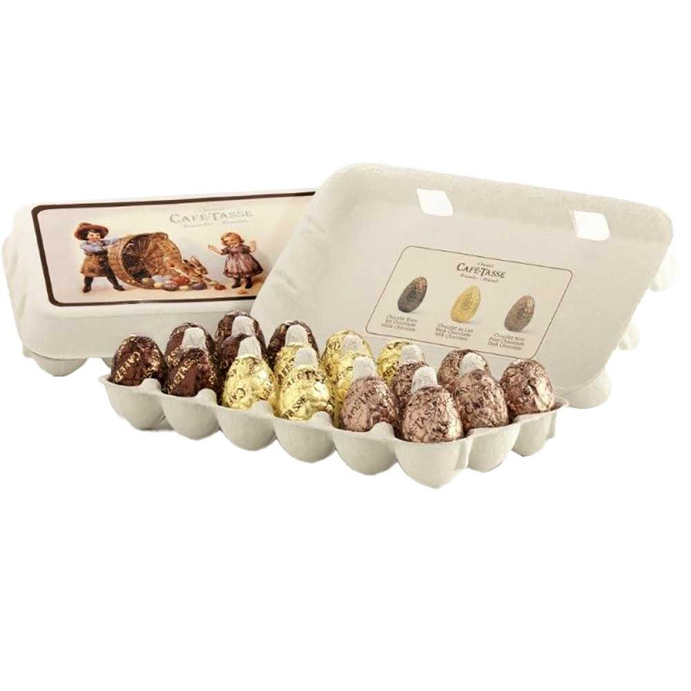 Schokoladen Ostereier in der Eierschachtel - Chocolade Paaseitjes, Frankrijk, Franse chocolade, Chocolade met hazelnoot, hazelnootchocolade - Chocolats-De-Luxe