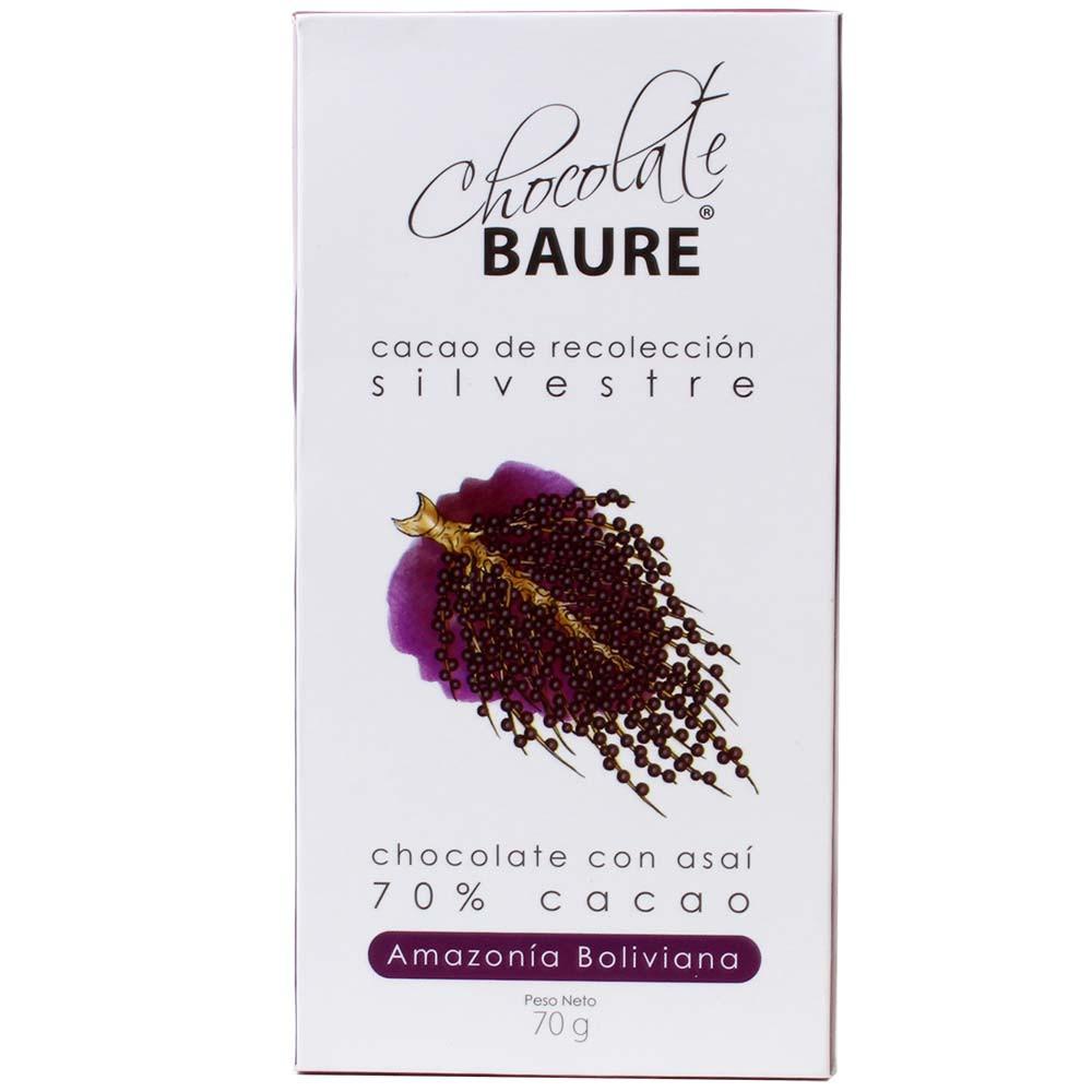 70% Cacao Sauvage Asai Berry - Chocolat avec Acai Berry - Tablette de chocolat, chocolate sans huile de palme, chocolat sans lactose, chocolat sans lécithine, chocolat sans soja, végan-amicale, Bolivie, chocolat bolivien, Schokolade mit Superfood, Superfood mit Schokolade - Chocolats-De-Luxe
