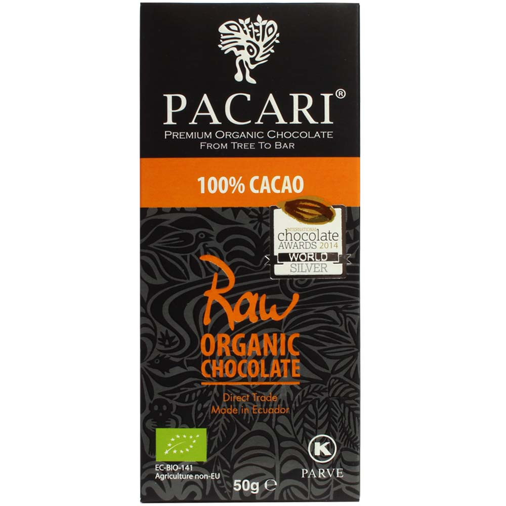 100% Raw Cacao Chocolate made from Arriba Nacional cocoa beans