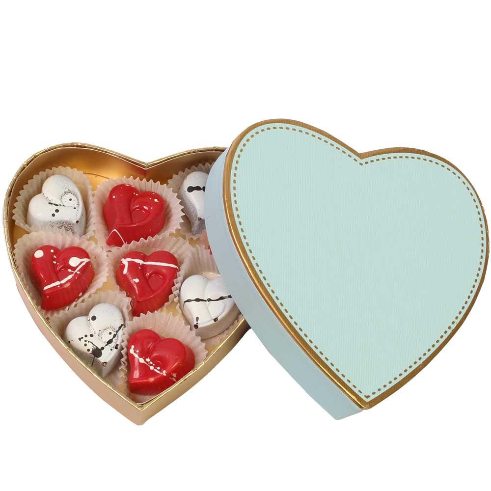 Valentinsedition gefüllt mit 10 Herzpralinen - Bombones, Alemania, chocolate alemán, Chocolate con coco - Chocolats-De-Luxe