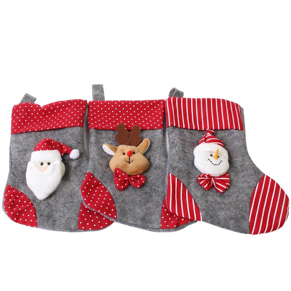 Bottes de Noël rouge gris avec motif