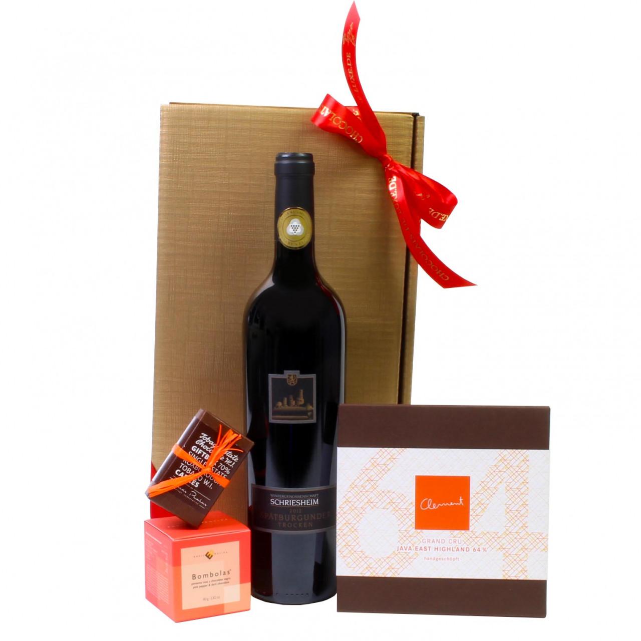 dunkle Schokolade, Geschenkset Wein und Schokolade, dark chocolate, vin rouge, red wine, chocolat noir, dark chocolate, Weihnachtsgeschenk -  - Chocolats-De-Luxe