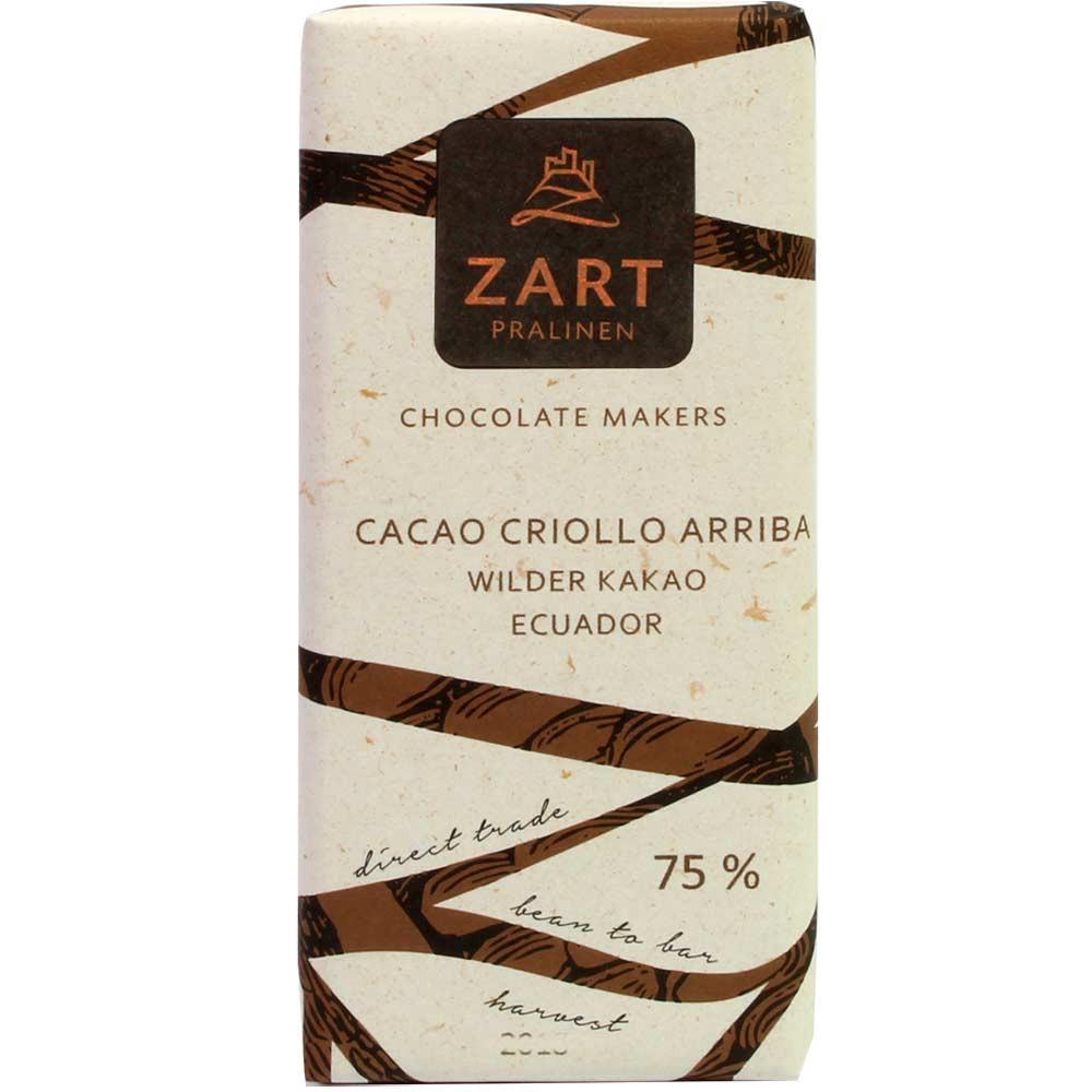 Cacao Criollo Arriba 75% Schokolade aus wildem Kakao aus Ecuador - Tablette de chocolat, chocolat sans gluten, chocolat sans lactose, chocolat sans lécithine, chocolat végétalien, sans arômes artificiels / additifs, Autriche, chocolat autrichien, chocolat pur, sans ingrédients - Chocolats-De-Luxe