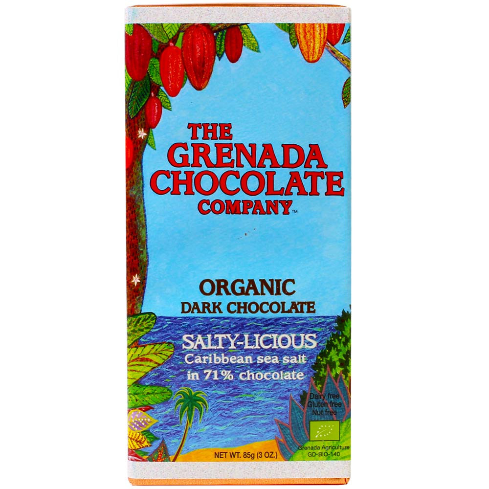 Bio Schokolade, Organic, Grenada, dark chocolate, dunkle Schokolade, chocolat noir, cocoa cacao, - Bar of Chocolate, nut free chocolate, Grenada, Grenadian chocolate, Chocolate with salt - Chocolats-De-Luxe