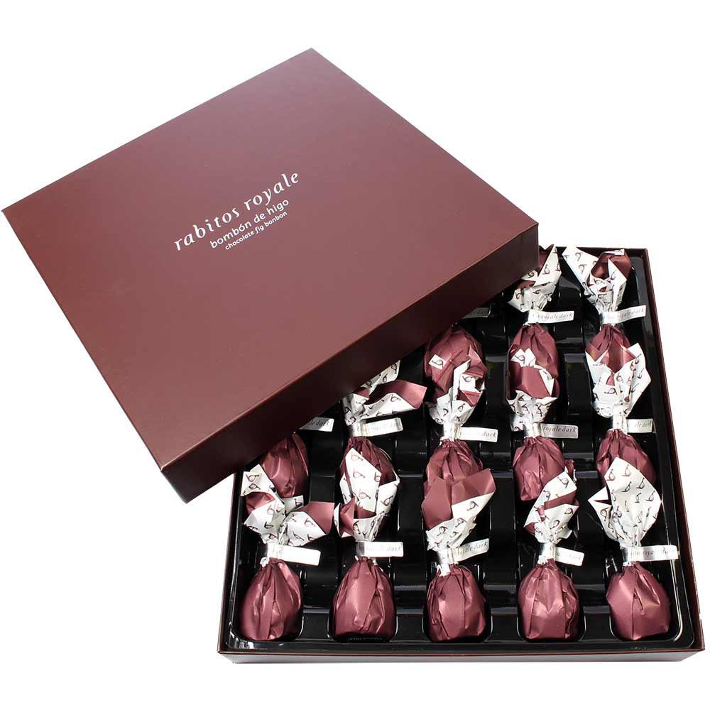 Coffret Rabitos Royale figues enrobées de chocolat - Enrobage de chocolat, Espagne, chocolat espagnol, Chocolat à l'alcool - Chocolats-De-Luxe