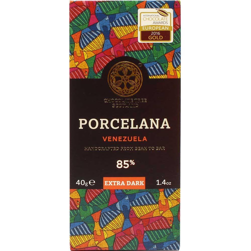 Porcelana Cioccolato fondente 85% Venezuela - Tavola di cioccolato, cioccolato vegano, Scozia, Cioccolato scozzese, Cioccolato con zucchero - Chocolats-De-Luxe
