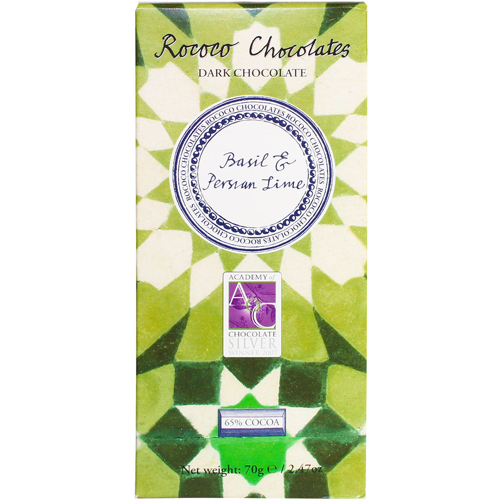 dunkle Schokolade, London, England, Rococo, Basilikum, Persische Limone, dark chocolate, chocolat noir