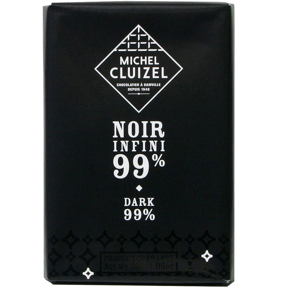 Michel Cluizel, Frankreich, Sojalecithinfrei, Bitterschokolade, 99% chocolat noir dark chocolate France                                                                                                  - Bar of Chocolate, lecithin free chocolate, soy free chocolate, vegan-friendly, without artificial flavourings / additives, France, french chocolate, Chocolate with cinnamon - Chocolats-De-Luxe