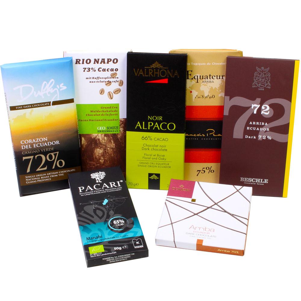 Schokolade, Ecuador, Nacional, Arriba, Probierset dark chocolate, chocolat noir, Manabi, Esmeraldas, Los Rios, -  - Chocolats-De-Luxe