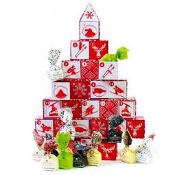 Adventskalender Roter Baum mit Schokolade ohne Alkohol