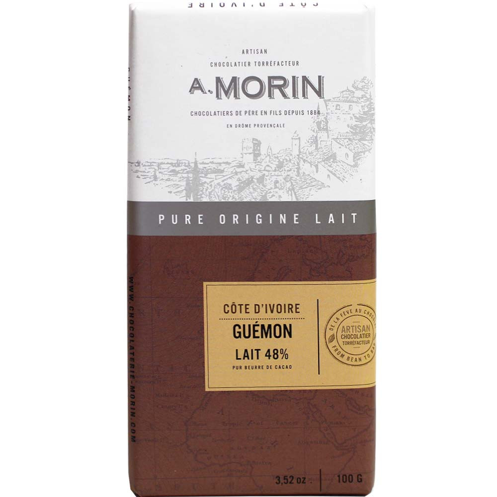 48% Côte d'Ivoire Guémon Milchschokolade - Bar of Chocolate, France, french chocolate, chocolate with milk, milk chocolate - Chocolats-De-Luxe