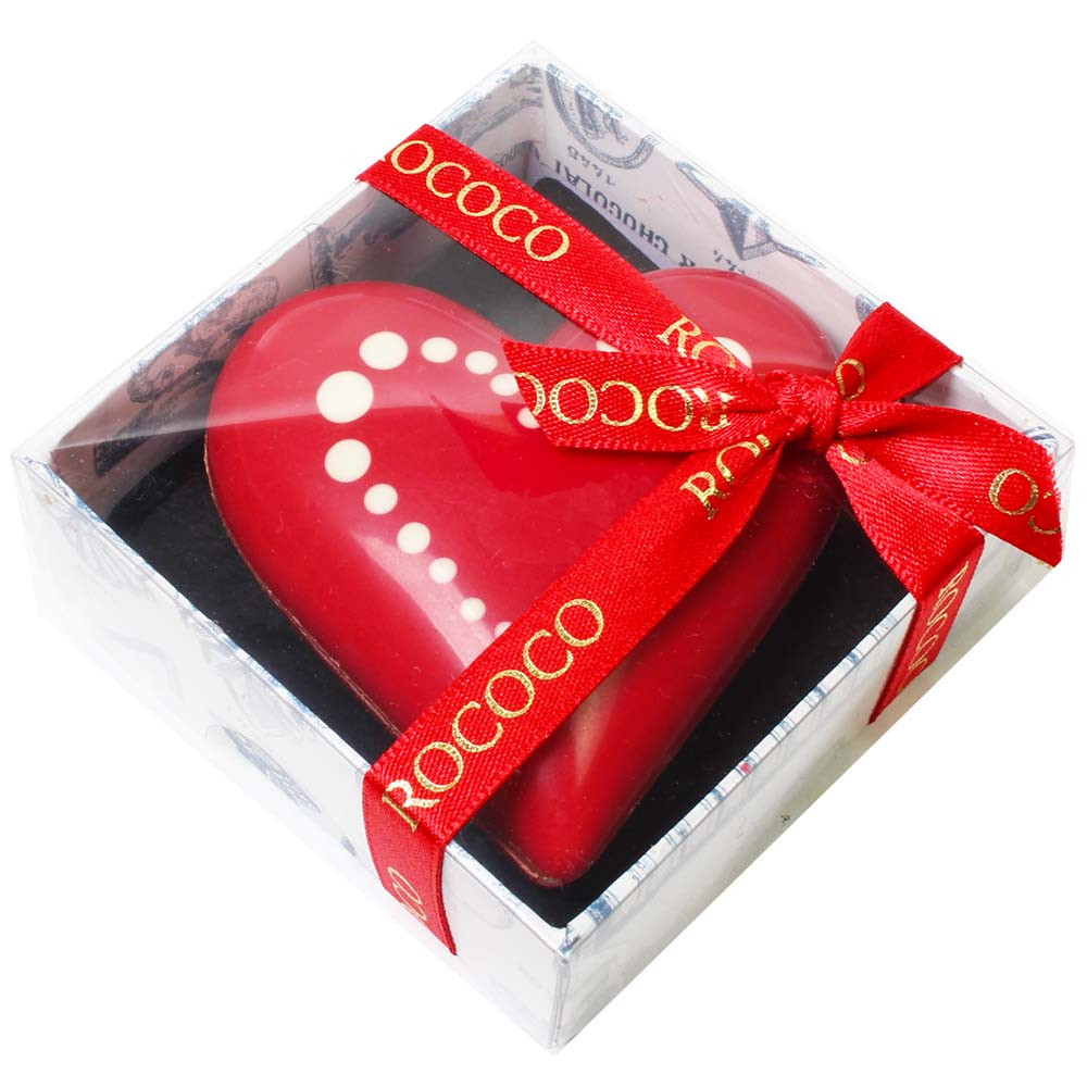 Hand painted red chocolate heart -  - Chocolats-De-Luxe