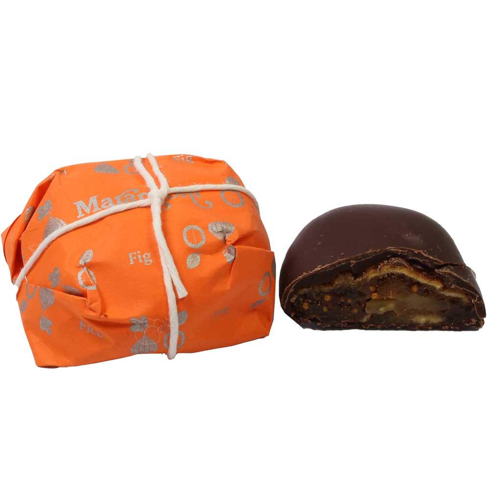 Ficchi con Noci - Feige mit Walnuss und Rum - Schokoliertes, SweetFingerfood, glutenfrei, laktosefrei, mit Alkohol, palmölfreie Schokolade, Italien, italienische Schokolade, Schokolade mit Feige - Chocolats-De-Luxe
