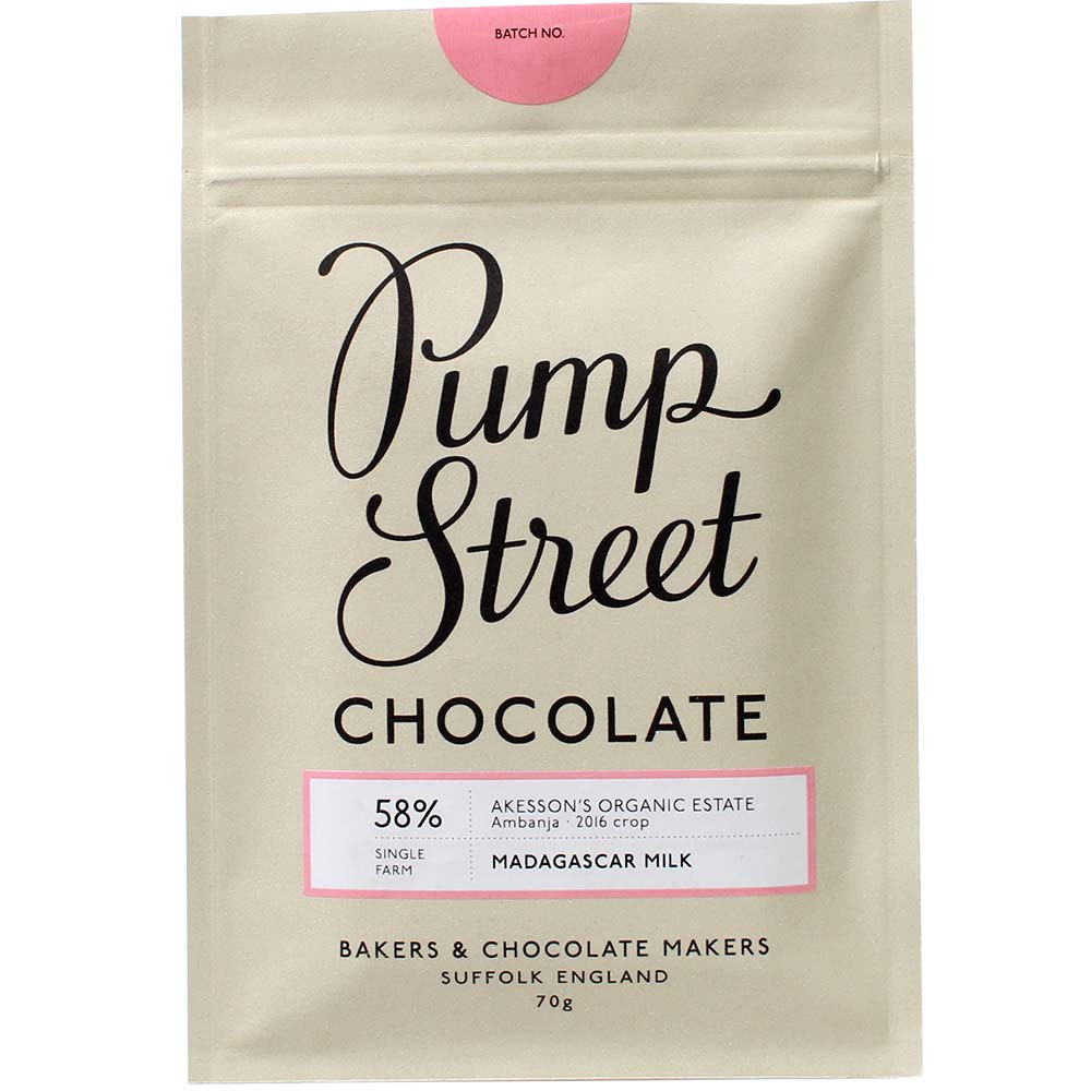 Pump Street Chocolate, Pump Street Bakery, Madagascar, Vollmilchschokolade aus Madagaskar, 58%, Sambirano River Valley, Preisträger, preisgekrönt, Siegerschokolade, Akesson's Organic Estate Ambanja,  - Bar of Chocolate, England, english chocolate - Chocolats-De-Luxe