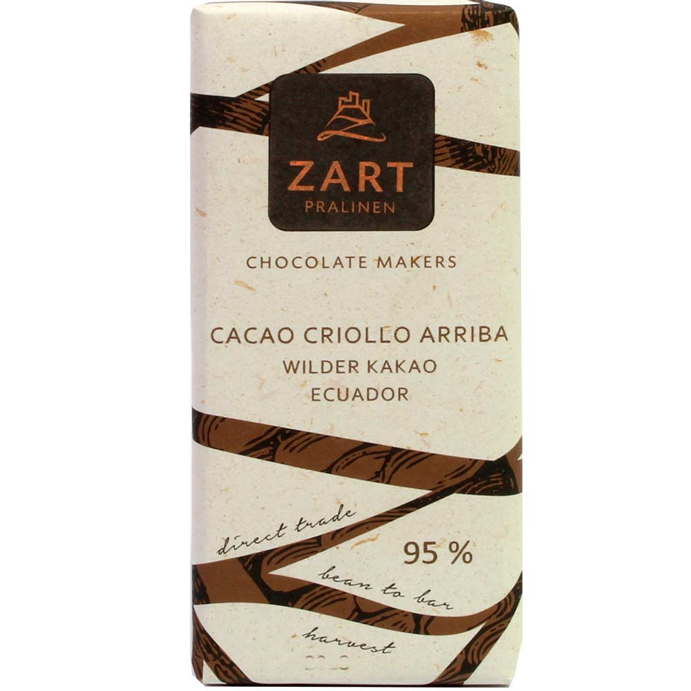 Cacao Criollo Arriba 95% cioccolato a base di cacao selvatico dell'Ecuador - Tavola di cioccolato, cioccolato senza glutine, cioccolato senza lattosio, cioccolato vegano, sans arômes artificiels / additifs, Austria, Cioccolato austriaco, cioccolato puro senza ingredienti - Chocolats-De-Luxe