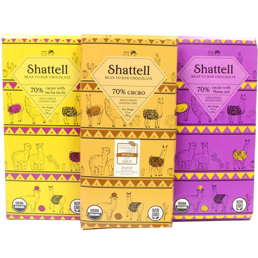Schoko-Festival Tasting Set - 3 Schokoladen von Shattell - Peru, Peruaanse chocolade - Chocolats-De-Luxe