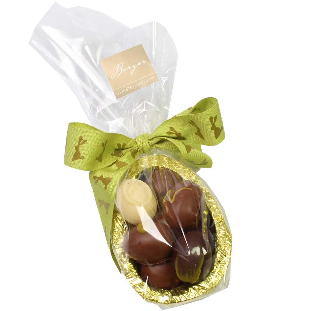 Schokoladen-Ei gefüllt mit BIO Osterei Pralinen - Pralines, avec l'alcool, Autriche, chocolat autrichien, Chocolat au Champagne - Chocolats-De-Luxe