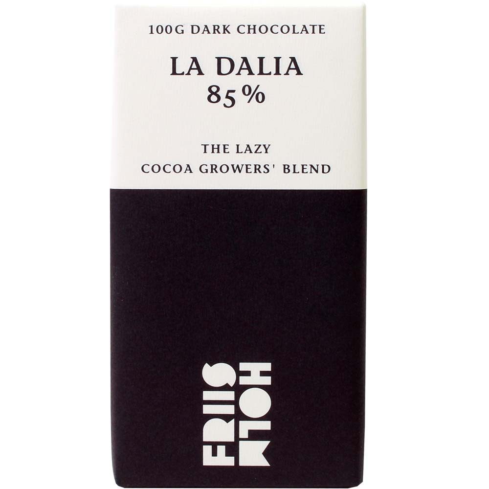 La Dalia 85% The Lazy Cocoa Growers Blend Schokolade - Bar of Chocolate, gluten free chocolate, laktose free chocolate, lecithin free chocolate, vegan chocolate, Danmark, danish chocolate - Chocolats-De-Luxe