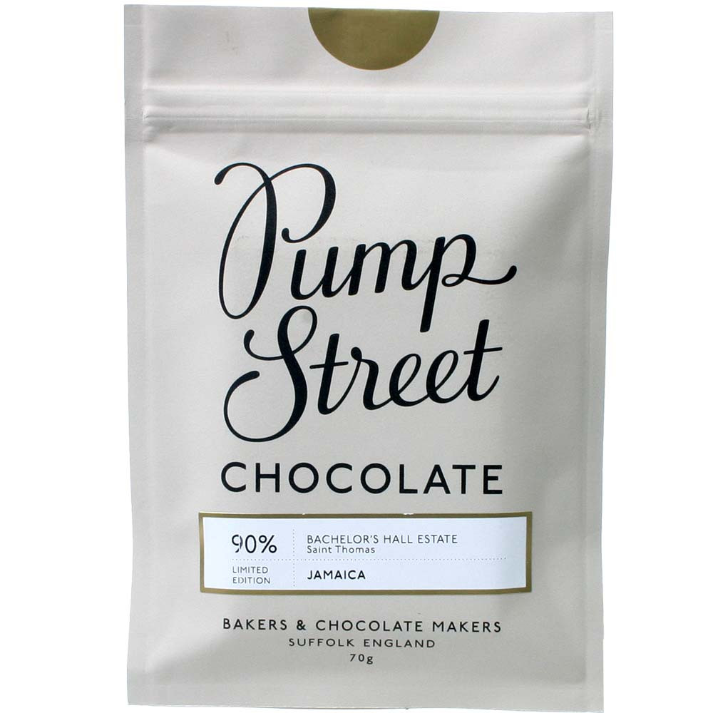 Pump Street Chocolate, Pump Street Bakery, 90% dunkle Schokolade, Jahrgangsschokolade, Jamaica Bachelor's Hall Estate,  - Tavola di cioccolato, Inghilterra, cioccolato inglese, Cioccolato con zucchero - Chocolats-De-Luxe